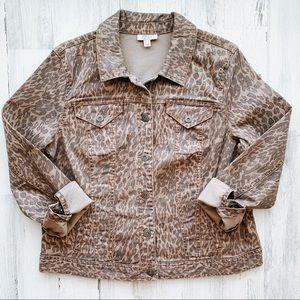 NWT Style & Co Leopard Denim Jacket Large